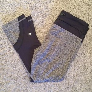 Black and Grey Lululemon Capri Leggings